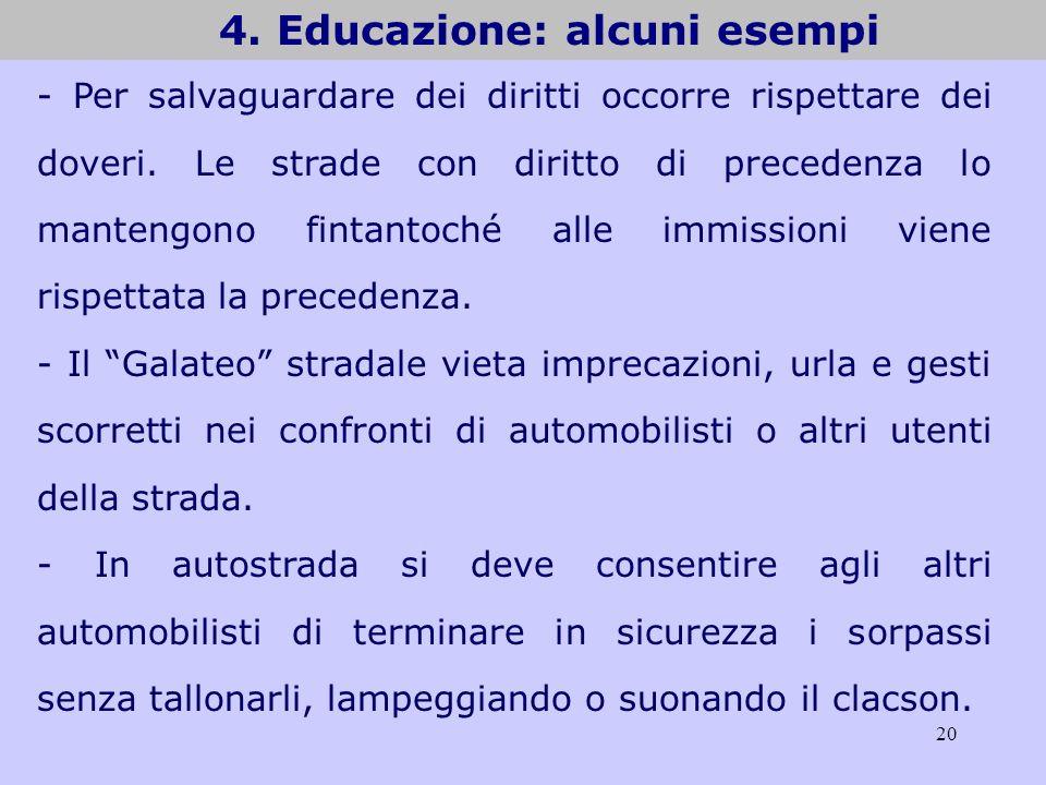 20 4. Educazione: alcuni esempi - Per salvaguardare dei diritti occorre rispettare dei doveri. Le strade con diritto di precedenza lo mantengono finta