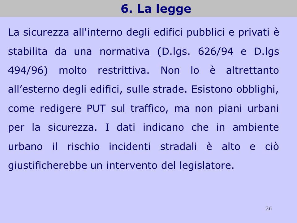 26 6. La legge La sicurezza all'interno degli edifici pubblici e privati è stabilita da una normativa (D.lgs. 626/94 e D.lgs 494/96) molto restrittiva