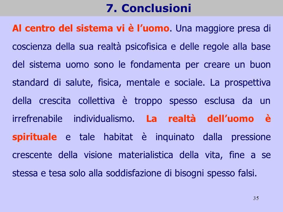 35 7. Conclusioni Al centro del sistema vi è luomo. Una maggiore presa di coscienza della sua realtà psicofisica e delle regole alla base del sistema