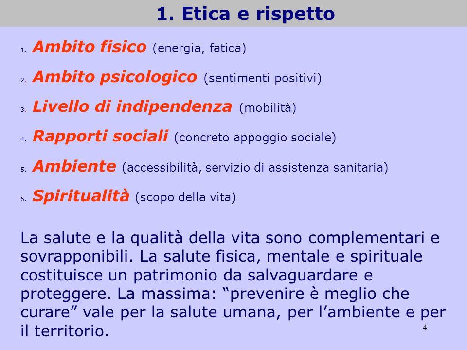 4 1. Etica e rispetto 1. Ambito fisico (energia, fatica) 2. Ambito psicologico (sentimenti positivi) 3. Livello di indipendenza (mobilità) 4. Rapporti