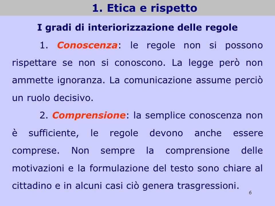 6 1. Etica e rispetto I gradi di interiorizzazione delle regole 1. Conoscenza: le regole non si possono rispettare se non si conoscono. La legge però