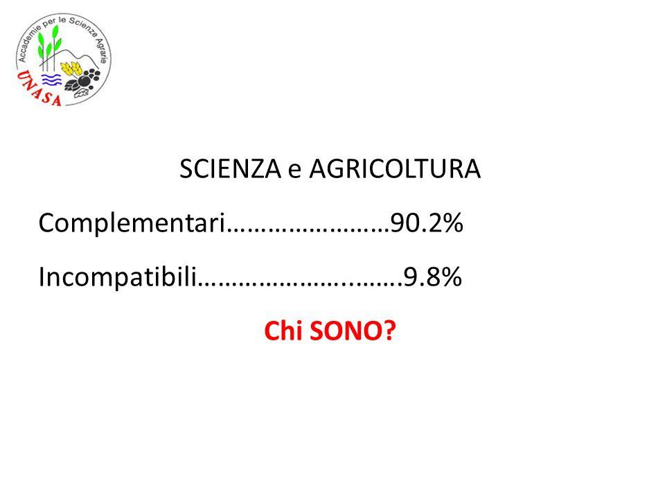 SCIENZA e AGRICOLTURA Complementari……………………90.2% Incompatibili…………………..…….9.8% Chi SONO