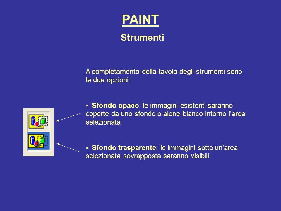 PAINT A completamento della tavola degli strumenti sono le due opzioni: Sfondo opaco: le immagini esistenti saranno coperte da uno sfondo o alone bian