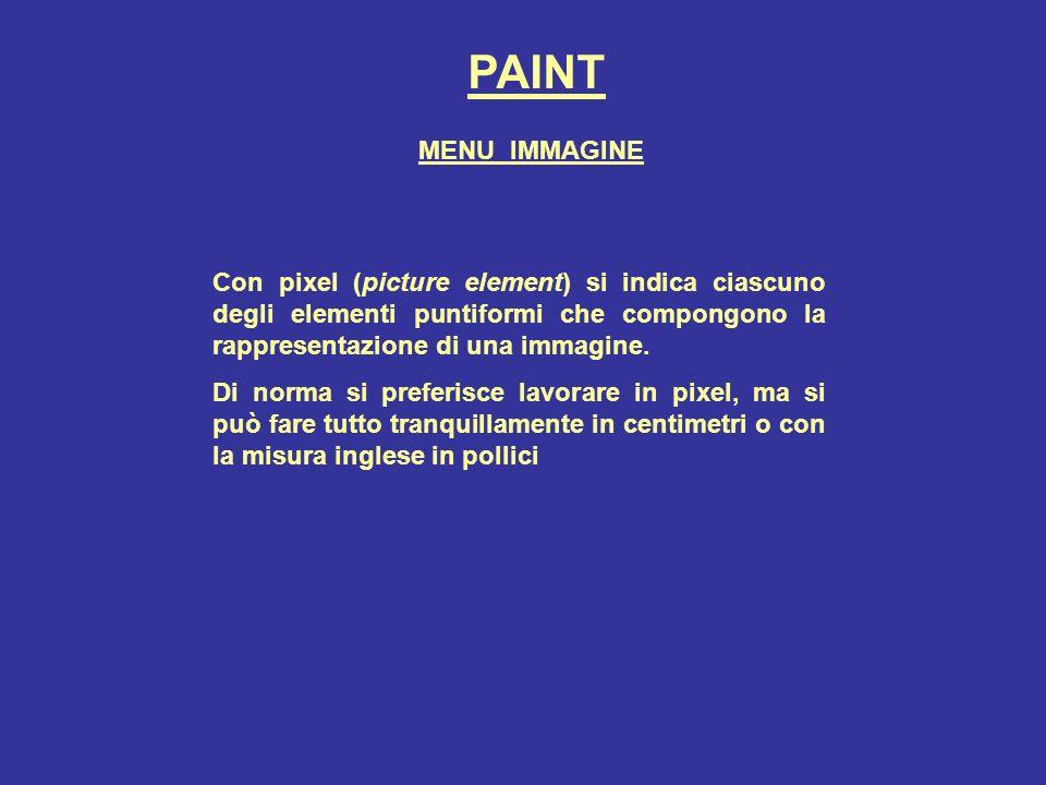 PAINT Con pixel (picture element) si indica ciascuno degli elementi puntiformi che compongono la rappresentazione di una immagine. Di norma si preferi