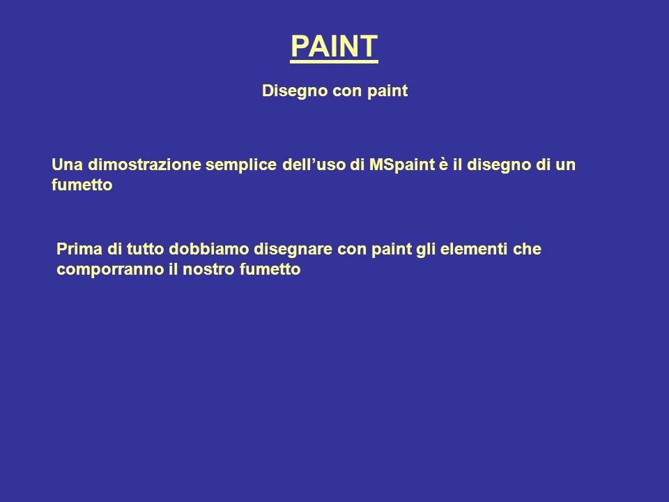 PAINT Disegno con paint Una dimostrazione semplice delluso di MSpaint è il disegno di un fumetto Prima di tutto dobbiamo disegnare con paint gli eleme