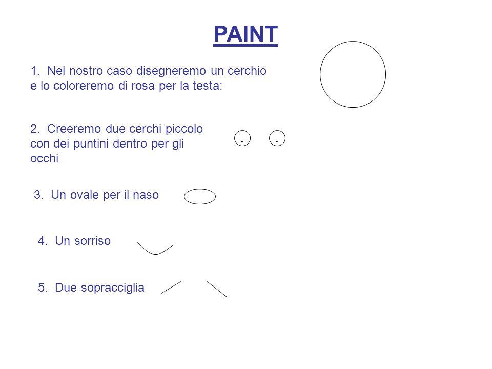 PAINT 1. Nel nostro caso disegneremo un cerchio e lo coloreremo di rosa per la testa: 2. Creeremo due cerchi piccolo con dei puntini dentro per gli oc