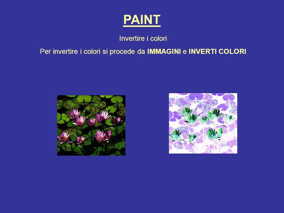 PAINT Invertire i colori Per invertire i colori si procede da IMMAGINI e INVERTI COLORI