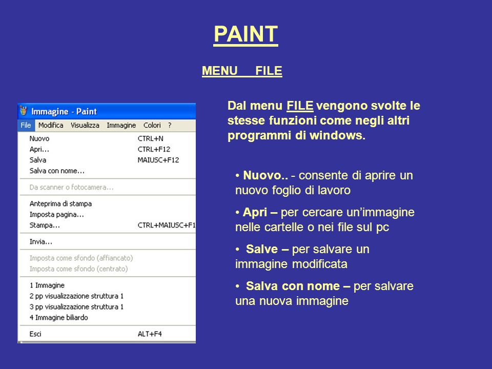 PAINT Dal menu FILE vengono svolte le stesse funzioni come negli altri programmi di windows. Nuovo.. - consente di aprire un nuovo foglio di lavoro Ap