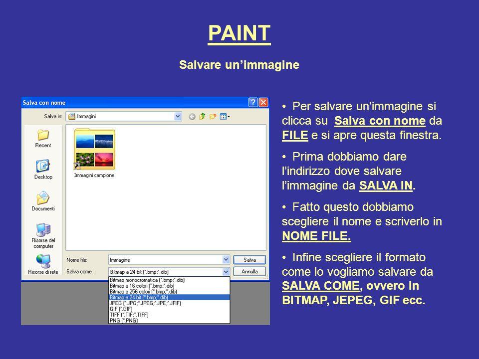 Questo programma permette di aprire, modificare e salvare immagini in formato BMP - bitmap,(a 24-bit, 256 colori, 16 colori, e monocromatiche), JPEG, GIF (senza animazione) PAINT CON PAINT E CONSIGLIATA LA SOLA GESTIONE DI FILE GRAFICI IN FORMATO BMP I formati JEPEG e GIF sono particolarmente utili per la grafica WEB delle pagine internet