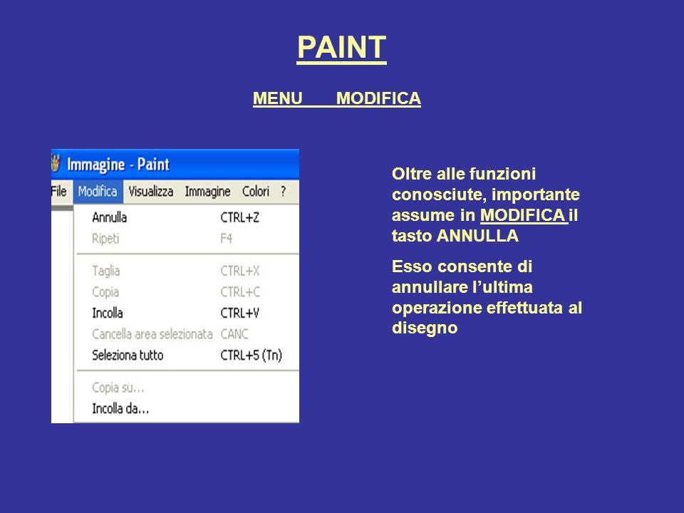 PAINT Dalla voce di menu VISUALIZZA si può nascondere o mostrare: la casella degli strumenti La tavolozza dei colori La barra degli strumenti di testo Zoom consente di ingrandire limmagine per intervenire nei dettagli Visualizza bitmap consente di vedere a schermo intero limmagine MENU VISUALIZZA
