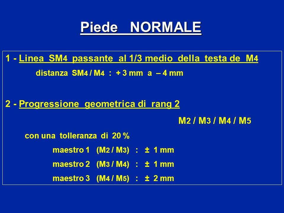 1 - Linea SM 4 passante al 1/3 medio della testa de M 4 distanza SM 4 / M 4 : + 3 mm a – 4 mm 2 - Progressione geometrica di rang 2 M 2 / M 3 / M 4 /