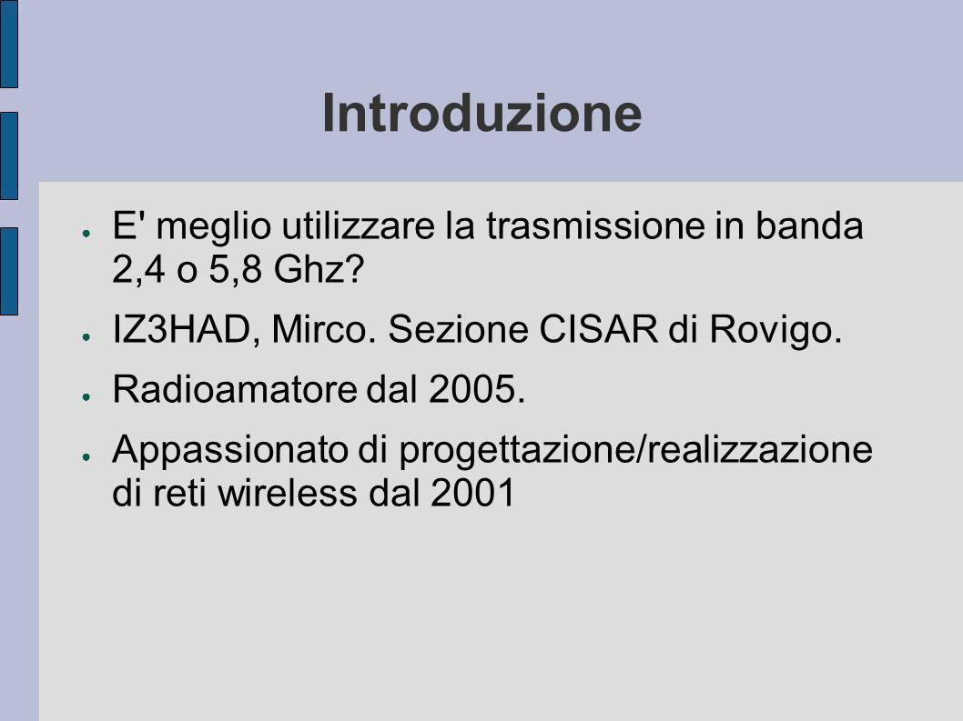 Introduzione E meglio utilizzare la trasmissione in banda 2,4 o 5,8 Ghz.