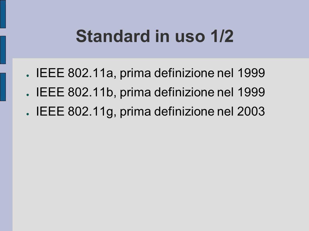 Standard in uso 1/2 IEEE 802.11a, prima definizione nel 1999 IEEE 802.11b, prima definizione nel 1999 IEEE 802.11g, prima definizione nel 2003