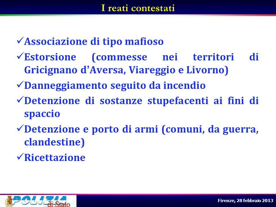 Firenze, 28 febbraio 2013 Associazione di tipo mafioso Estorsione (commesse nei territori di Gricignano dAversa, Viareggio e Livorno) Danneggiamento s