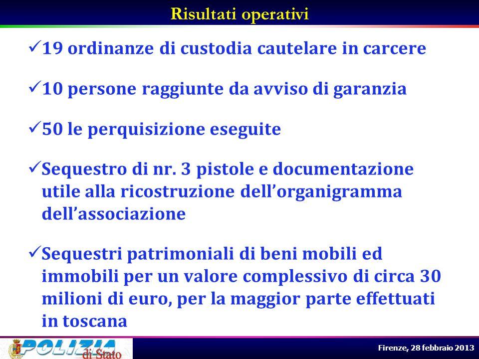 Firenze, 28 febbraio 2013 19 ordinanze di custodia cautelare in carcere 10 persone raggiunte da avviso di garanzia 50 le perquisizione eseguite Seques