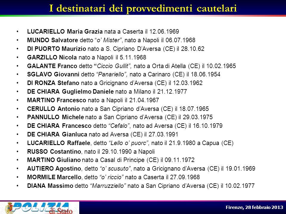 Firenze, 28 febbraio 2013 LUCARIELLO Maria Grazia nata a Caserta il 12.06.1969 MUNDO Salvatore detto o Mister, nato a Napoli il 06.07.1968 DI PUORTO M