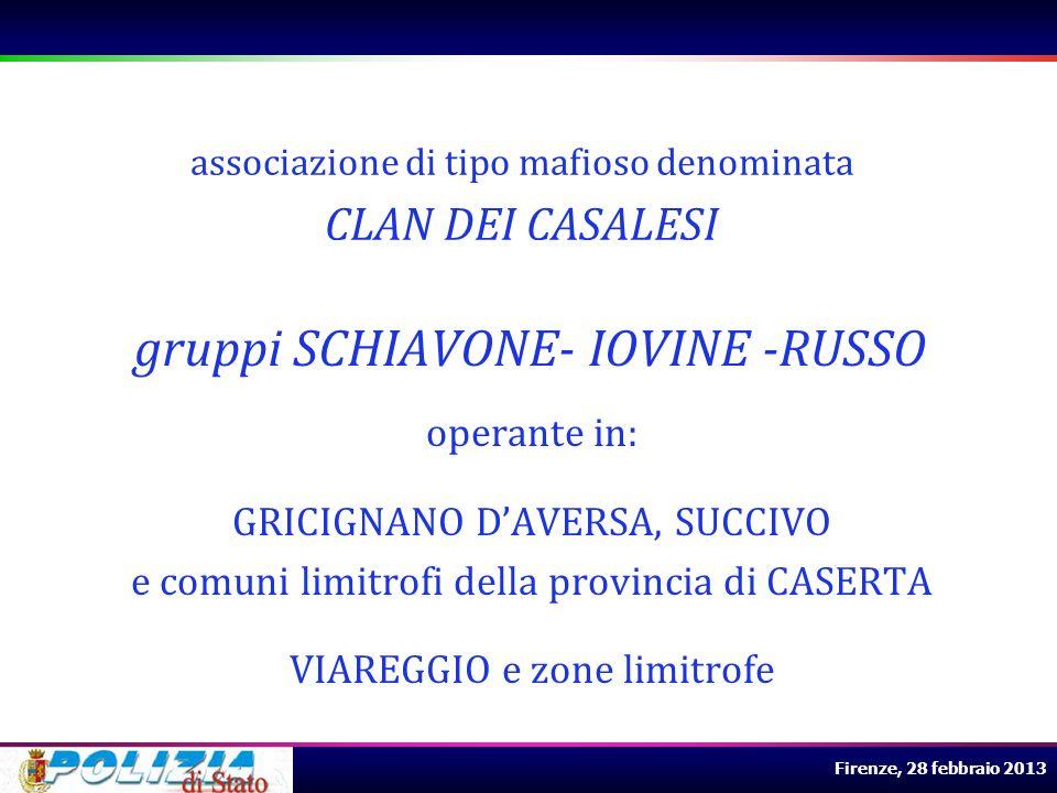 Firenze, 28 febbraio 2013 operante in: GRICIGNANO DAVERSA, SUCCIVO e comuni limitrofi della provincia di CASERTA VIAREGGIO e zone limitrofe associazio