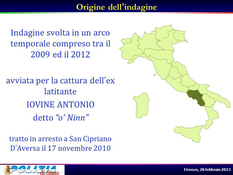 Firenze, 28 febbraio 2013 Origine dellindagine Successivamente sviluppata sugli interessi economici e sulle varie attività illecite gestite dal clan anche nel TERRITORIO TOSCANO comprensorio della VERSILIA e cittadina di VIAREGGIO.