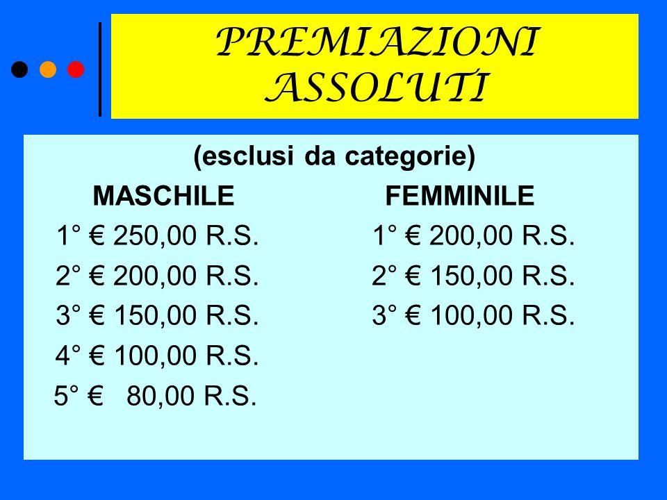 PREMIAZIONI ASSOLUTI (esclusi da categorie) MASCHILE FEMMINILE 1° 250,00 R.S.