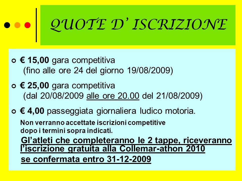 QUOTE D ISCRIZIONE 15,00 gara competitiva (fino alle ore 24 del giorno 19/08/2009) 25,00 gara competitiva (dal 20/08/2009 alle ore 20.00 del 21/08/2009) 4,00 passeggiata giornaliera ludico motoria.