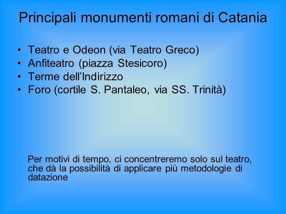 Principali monumenti romani di Catania Teatro e Odeon (via Teatro Greco) Anfiteatro (piazza Stesicoro) Terme dellIndirizzo Foro (cortile S. Pantaleo,
