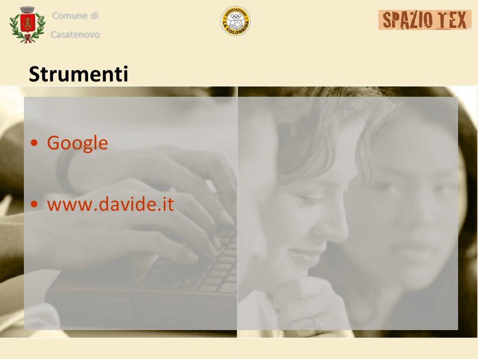 Comune di Casatenovo Strumenti Google www.davide.it