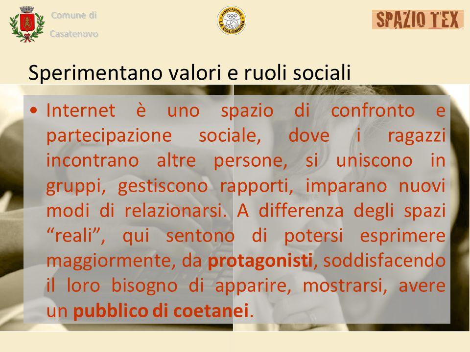 Comune di Casatenovo Sperimentano valori e ruoli sociali Internet è uno spazio di confronto e partecipazione sociale, dove i ragazzi incontrano altre persone, si uniscono in gruppi, gestiscono rapporti, imparano nuovi modi di relazionarsi.