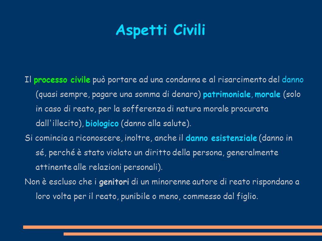 Il processo civile può portare ad una condanna e al risarcimento del danno (quasi sempre, pagare una somma di denaro) patrimoniale, morale (solo in ca