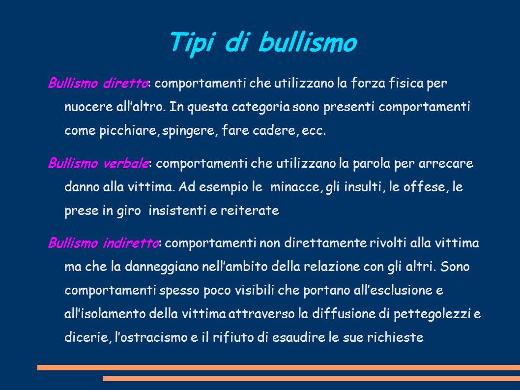 Bullismo diretto: comportamenti che utilizzano la forza fisica per nuocere allaltro. In questa categoria sono presenti comportamenti come picchiare, s