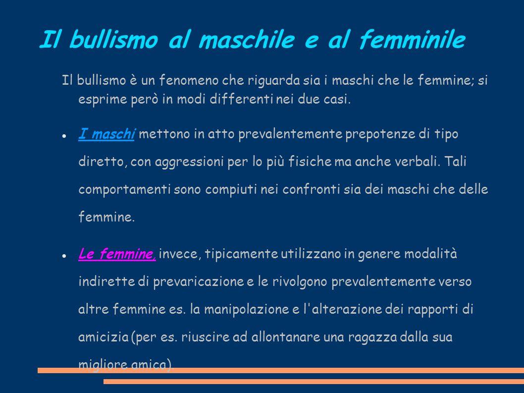 Il bullismo al maschile e al femminile Il bullismo è un fenomeno che riguarda sia i maschi che le femmine; si esprime però in modi differenti nei due