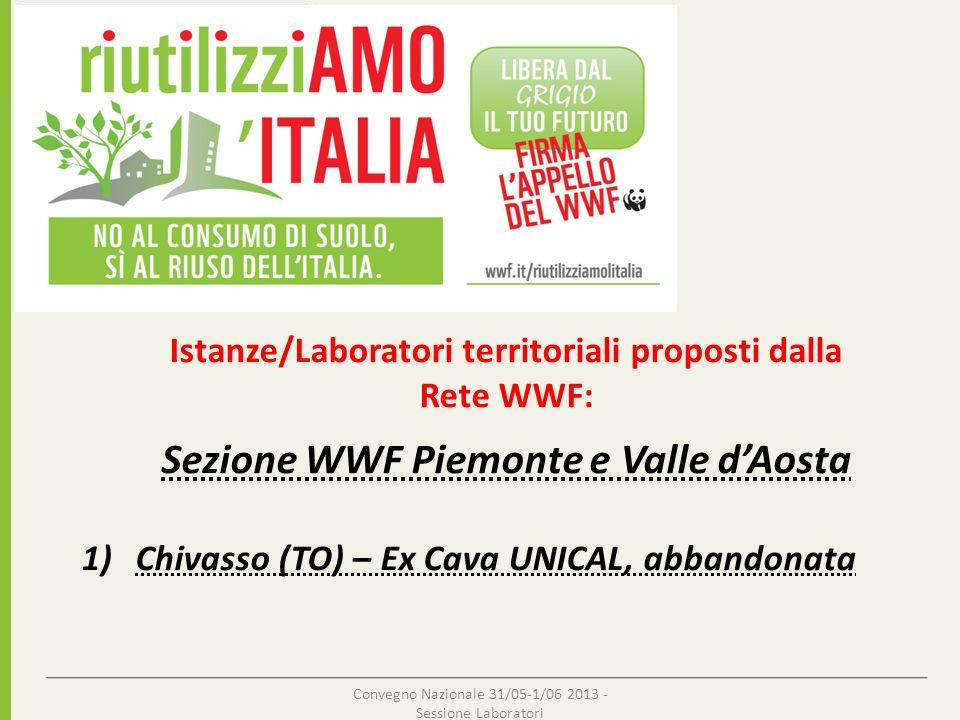 Istanze/Laboratori territoriali proposti dalla Rete WWF: Sezione WWF Piemonte e Valle dAosta 1)Chivasso (TO) – Ex Cava UNICAL, abbandonata Convegno Na