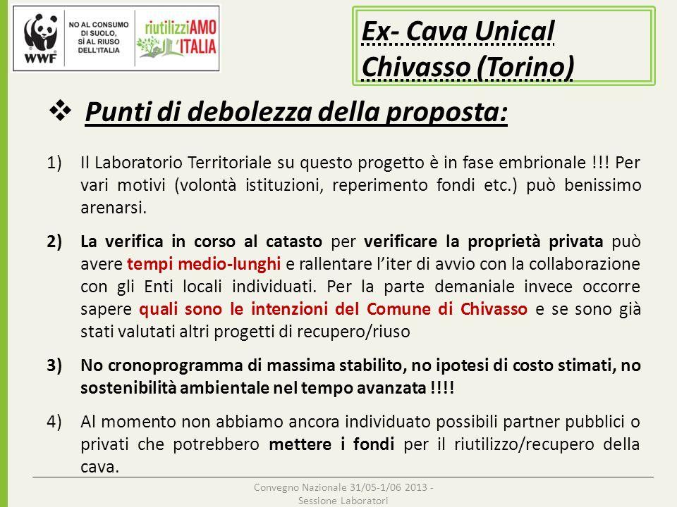 Convegno Nazionale 31/05-1/06 2013 - Sessione Laboratori Punti di debolezza della proposta: Ex- Cava Unical Chivasso (Torino) 1)Il Laboratorio Territo