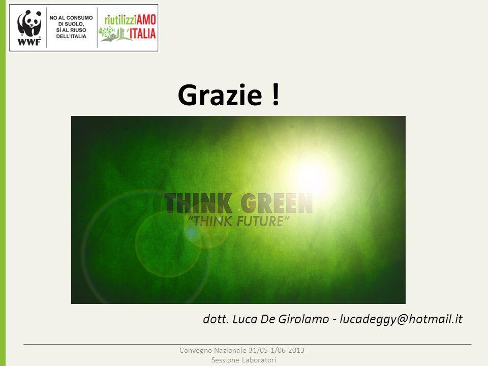 Convegno Nazionale 31/05-1/06 2013 - Sessione Laboratori dott. Luca De Girolamo - lucadeggy@hotmail.it Grazie !