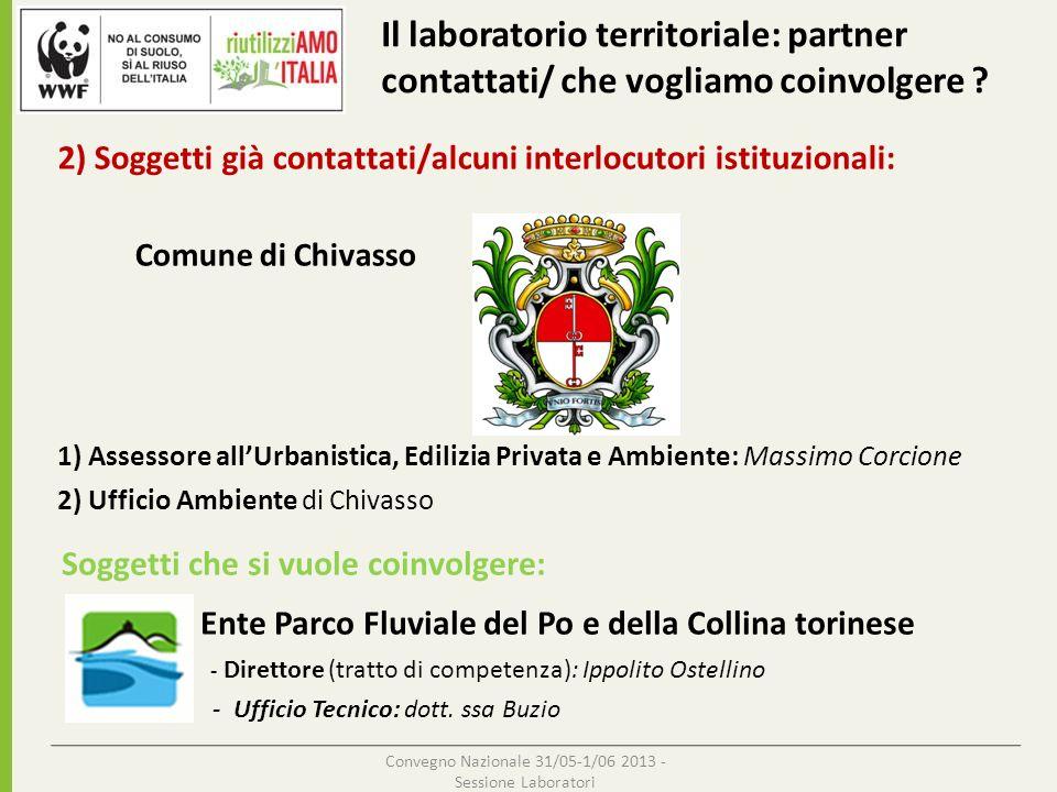 Convegno Nazionale 31/05-1/06 2013 - Sessione Laboratori Punti di debolezza della proposta: Ex- Cava Unical Chivasso (Torino) 1)Il Laboratorio Territoriale su questo progetto è in fase embrionale !!.