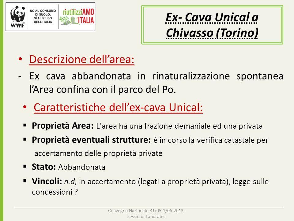 Descrizione dellarea: -Ex cava abbandonata in rinaturalizzazione spontanea lArea confina con il parco del Po. Convegno Nazionale 31/05-1/06 2013 - Ses
