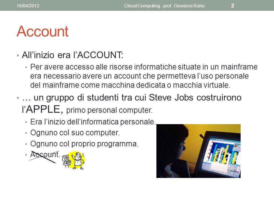Account Allinizio era lACCOUNT: Per avere accesso alle risorse informatiche situate in un mainframe era necessario avere un account che permetteva luso personale del mainframe come macchina dedicata o macchia virtuale.