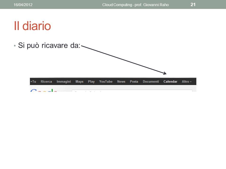 Il diario Si può ricavare da: 16/04/2012Cloud Computing - prof. Giovanni Raho 21