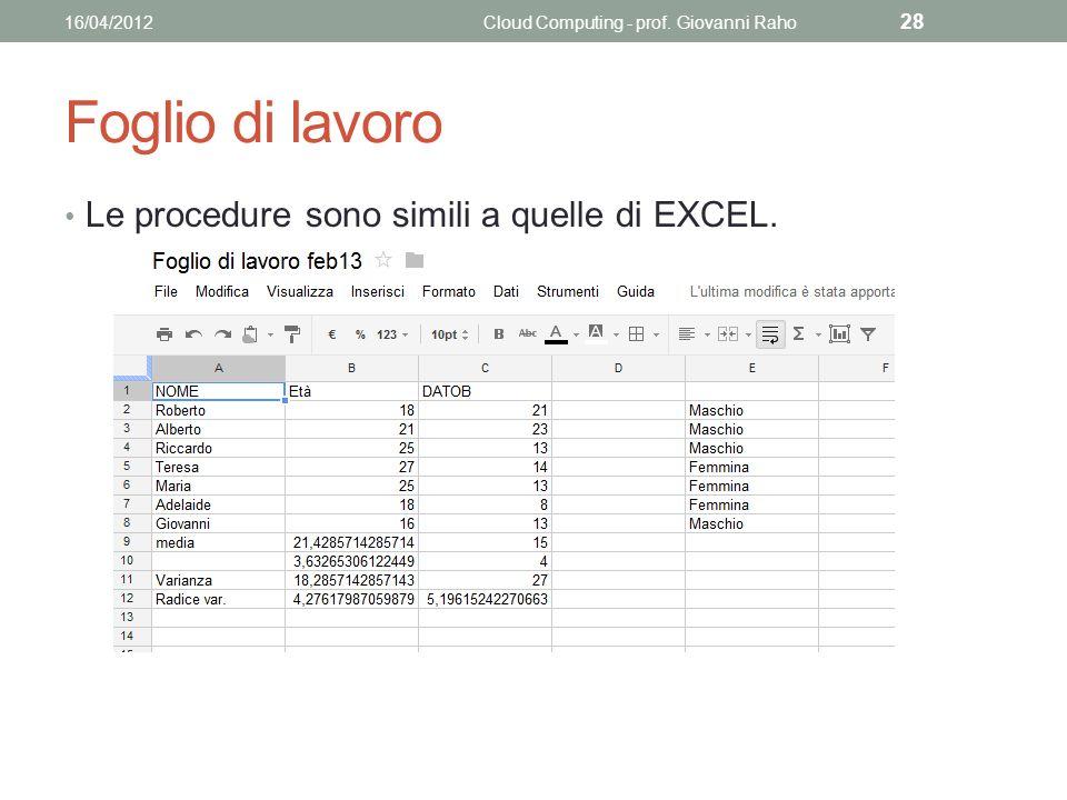 Foglio di lavoro Le procedure sono simili a quelle di EXCEL.