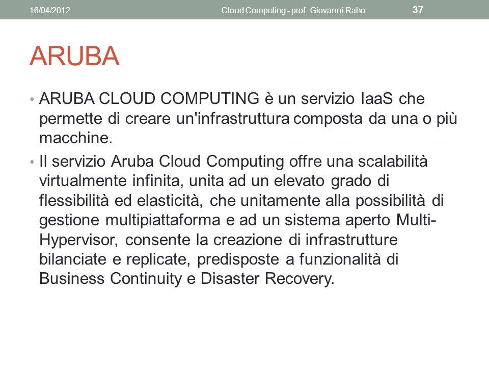 ARUBA ARUBA CLOUD COMPUTING è un servizio IaaS che permette di creare un infrastruttura composta da una o più macchine.