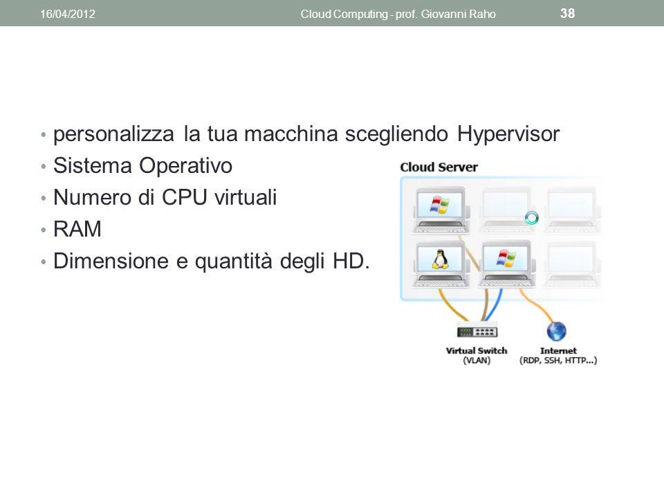 personalizza la tua macchina scegliendo Hypervisor Sistema Operativo Numero di CPU virtuali RAM Dimensione e quantità degli HD.