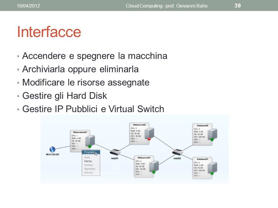 Interfacce Accendere e spegnere la macchina Archiviarla oppure eliminarla Modificare le risorse assegnate Gestire gli Hard Disk Gestire IP Pubblici e Virtual Switch 16/04/2012Cloud Computing - prof.