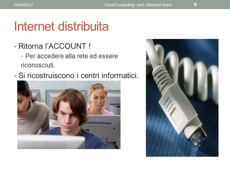 Internet distribuita Ritorna lACCOUNT . Per accedere alla rete ed essere riconosciuti.