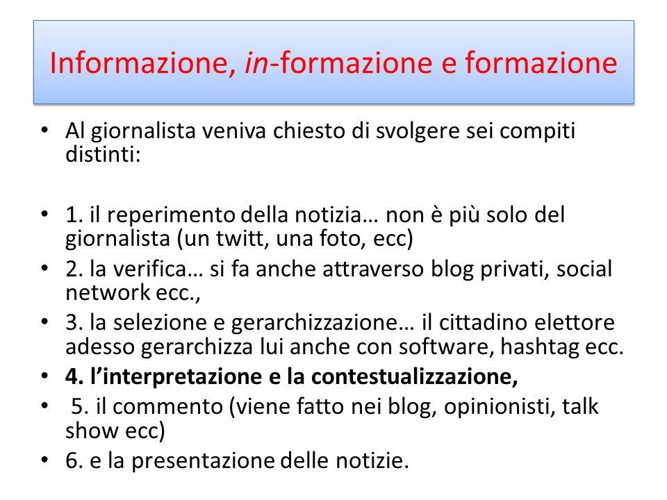 Informazione, in-formazione e formazione Al giornalista veniva chiesto di svolgere sei compiti distinti: 1.