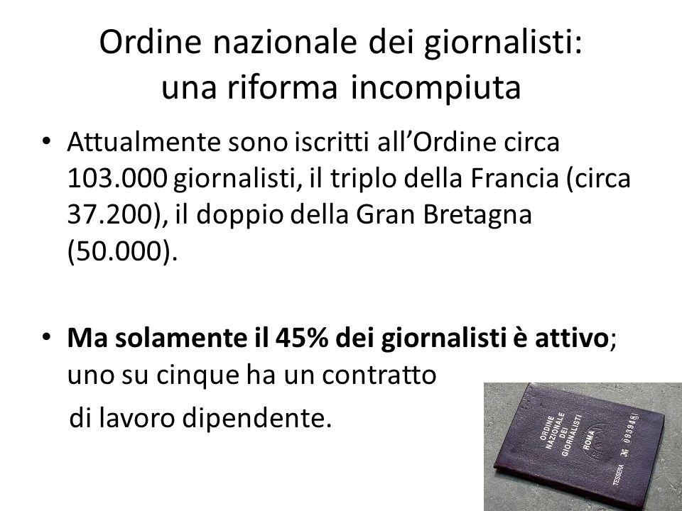 Ordine nazionale dei giornalisti: una riforma incompiuta Attualmente sono iscritti allOrdine circa 103.000 giornalisti, il triplo della Francia (circa 37.200), il doppio della Gran Bretagna (50.000).