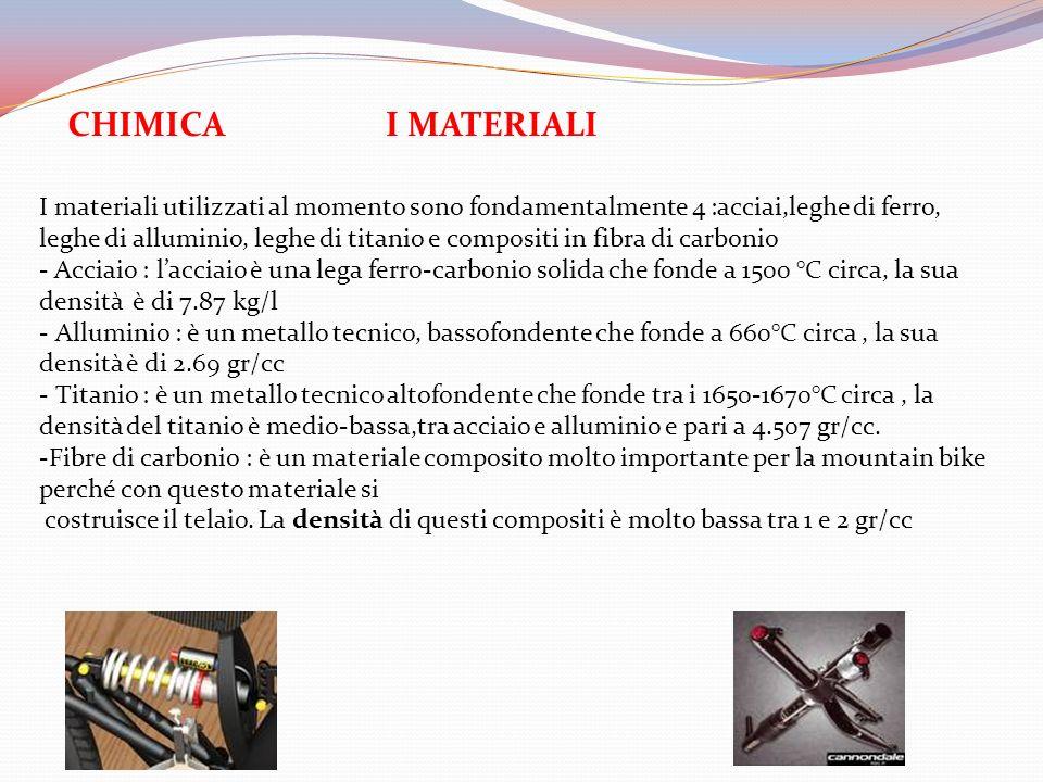 I MATERIALI I materiali utilizzati al momento sono fondamentalmente 4 :acciai,leghe di ferro, leghe di alluminio, leghe di titanio e compositi in fibr