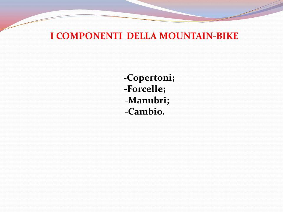 I COMPONENTI DELLA MOUNTAIN-BIKE -Copertoni; -Forcelle; -Manubri; -Cambio.