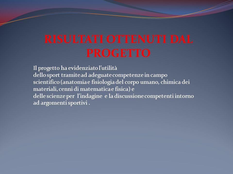 RISULTATI OTTENUTI DAL PROGETTO Il progetto ha evidenziato lutilità dello sport tramite ad adeguate competenze in campo scientifico (anatomia e fisiol