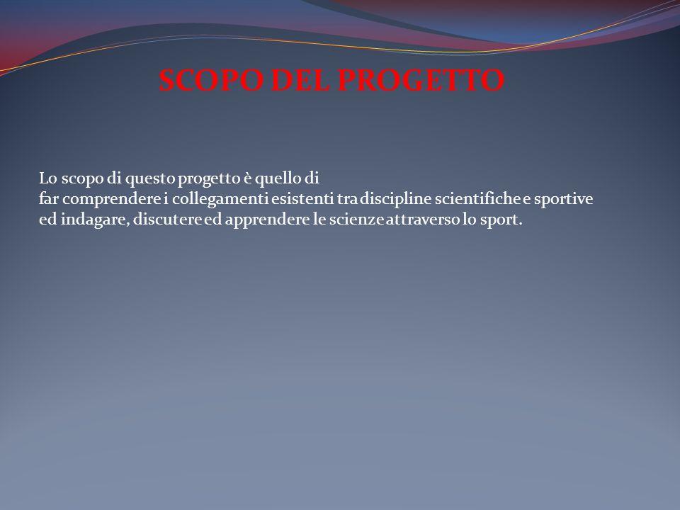 SCOPO DEL PROGETTO Lo scopo di questo progetto è quello di far comprendere i collegamenti esistenti tra discipline scientifiche e sportive ed indagare