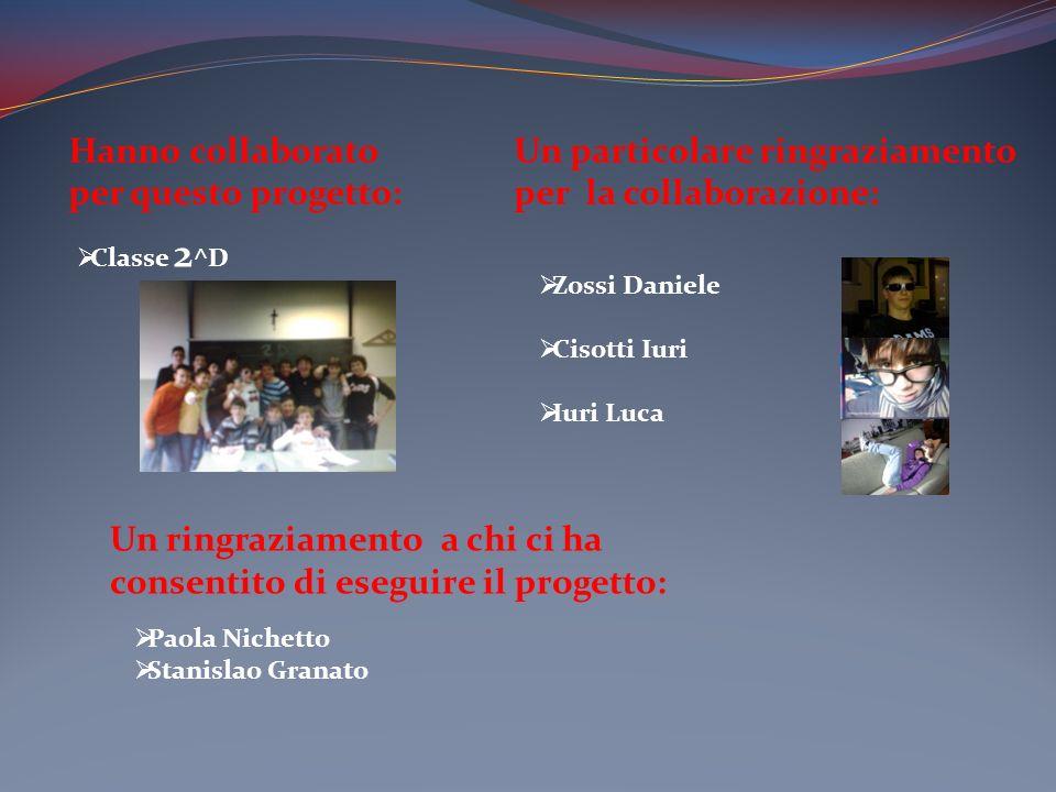 Hanno collaborato per questo progetto: Classe 2 ^D Un particolare ringraziamento per la collaborazione: Zossi Daniele Cisotti Iuri Iuri Luca Un ringra