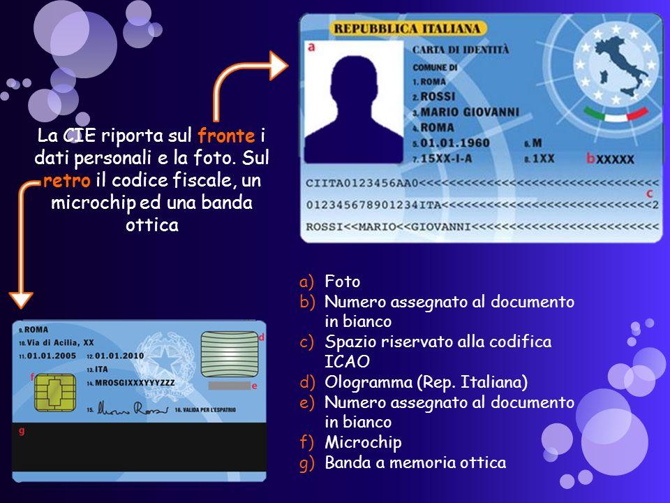 La CIE riporta sul fronte i dati personali e la foto.
